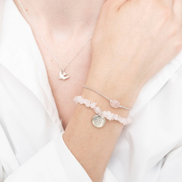 A Beautiful Story | Bracelet Gemstone - Rose Quartz Silver
