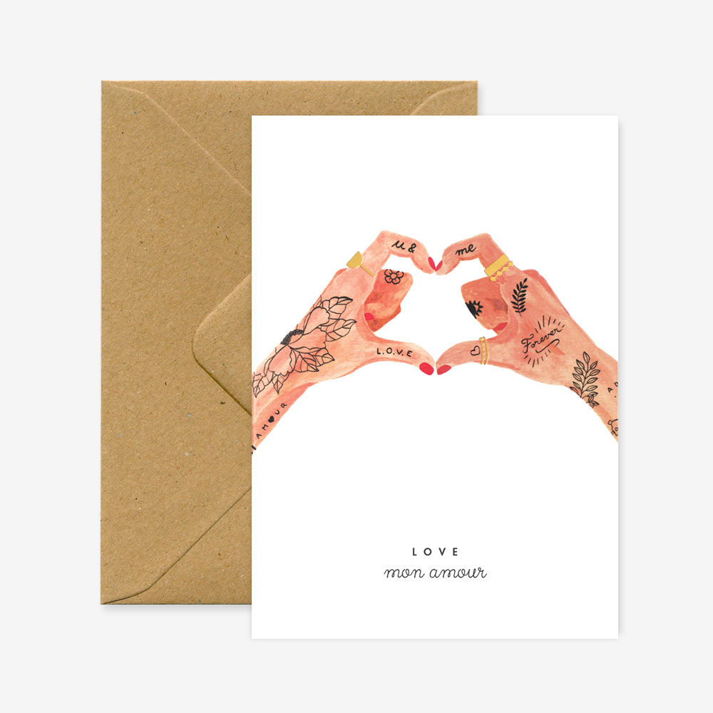 [AWS-1121] ALL THE WAYS TO SAY | Carte A6 + Enveloppe - Hands of love